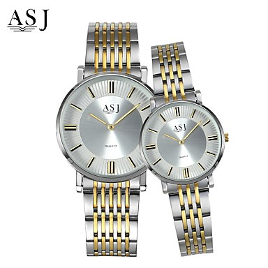 ASJ Couple's Wrist Watch Japanese Casual Watch Stainless Steel Band Charm / Fashion Silver