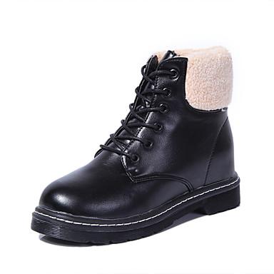 Damen Schuhe Pelz / Vlies / PU Winter Schneestiefel Stiefel Flacher Absatz Schnürsenkel Schwarz / Beige / Burgund