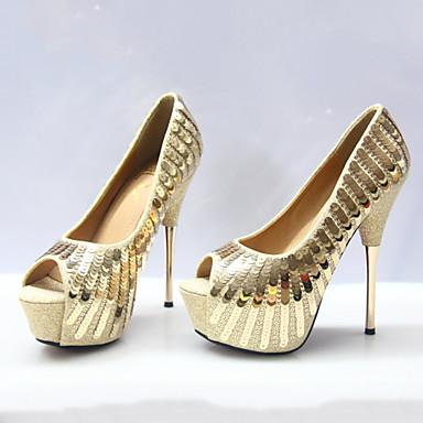 de Confort Bout Chaussures Nouveauté Printemps Polyuréthane Femme Or Paillette ouvert mariage Automne 06318185 Paillettes Chaussures qwaTC8