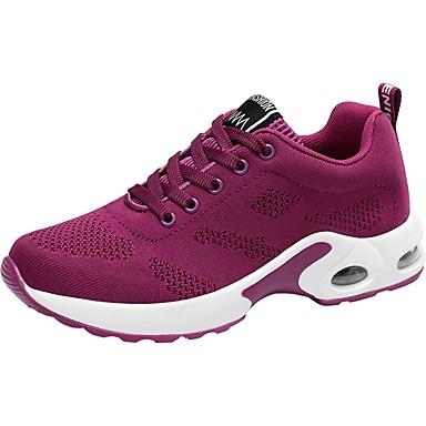 Női Cipő Kötött Tavasz Ősz Kényelmes Sportcipők Gyalogló mert Hétköznapi Fekete Bíbor Piros Rózsaszín