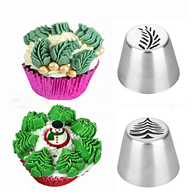 2pcs Christmas Tree Icing Piping Tips Russian Leaf Nozzle Cake Decorating Baking Tools