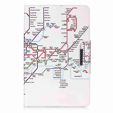 Case For Samsung Galaxy Full Body Cases / Tablet Cases Map / City View Hard PU Leather for Tab E 9.6
