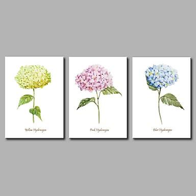 Hang festett olajfestmény Kézzel festett - Virágos / Botanikus Művészi / Virág / Modern / kortárs Vászon / Három elem / Nyújtott vászon