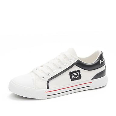 Mujer Zapatos Microfibra Verano Confort Zapatillas de deporte Tacón Plano Dedo redondo Blanco SzG384