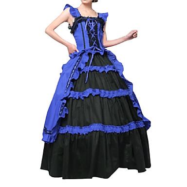 Vintage / Gothic / Viktoria Tarzı Kostým Dámské Šaty / Kostým na Večírek / Maškarní Modrá Retro Cosplay Satén / Other Bez rukávů Košíček