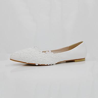 Női Cipő PU Tavasz / Ősz Kényelmes / Újdonság Esküvői cipők Erősített lábujj Gyöngy / Rátétek Fehér / Piros / Party és Estélyi