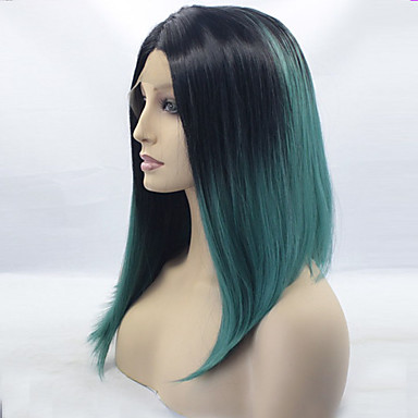 Synthetic Lace Front Wig Straight Synthetic Hair Ombre Hair / Dark Roots / Middle Part Blue Wig Women's Medium Length Lace Front