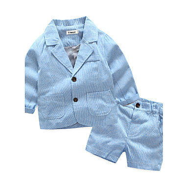 Toddler Boys' Stripes Stripe Long Sleeve Others Clothing Set Blue 2-3 Years(100cm)