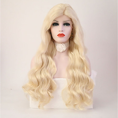 Synthetic Lace Front Wig Body Wave / Deep Wave Blonde Synthetic Hair Natural Hairline Blonde Wig Women's Long Lace Front