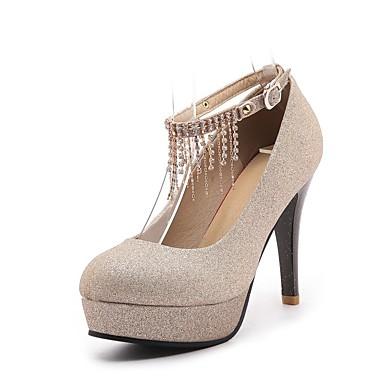 ราคาถูก รองเท้าส้นสูงผู้หญิง-รองเท้าผู้หญิงหนังเทียมฤดูใบไม้ผลิ / ฤดูใบไม้ร่วงความสะดวกสบายส้นกริชส้นเท้ารอบหัวเข็มขัดสีดำ / เงิน / แดง / แต่งงาน / ชุด