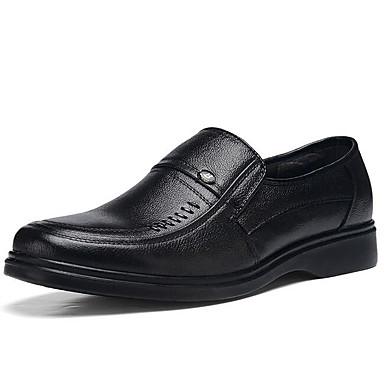 Men's Light Soles Cowhide Fall / Winter Loafers & Slip-Ons Black