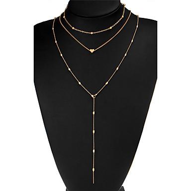 Női Rakott nyakláncok - Arannyal bevont Szív Bohém, Boho Arany, Ezüst Nyakláncok Ékszerek Kompatibilitás Alkalmi, Klub