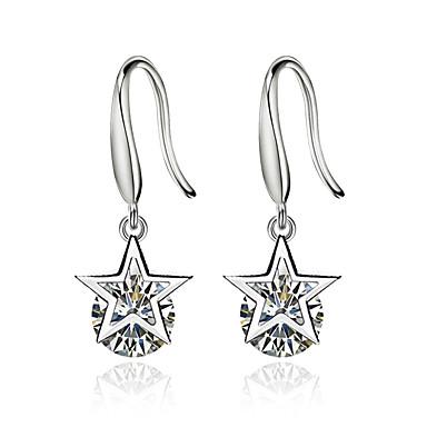 billige Moteøreringer-Dame Diamant Kubisk Zirkonium Dråpeøreringer Stjerne damer Sølvplett øredobber Smykker Hvit Til Seremoni Valentine