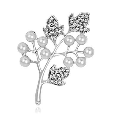 abordables Epingles & Broches-Femme Broche Forme de Feuille Perle Broche Bijoux Blanc Pour Mariage Soirée
