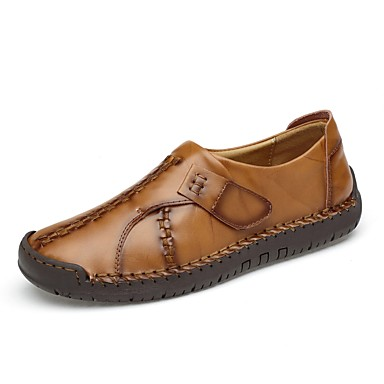 Men's Comfort Shoes Leatherette / Cowhide Spring / Fall Loafers & Slip-Ons Black / Light Brown / Dark Brown