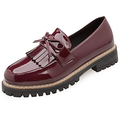 Women's Shoes Patent Leather Winter Comfort Loafers & Slip-Ons Round Toe Bowknot for Outdoor Black Beige Burgundy