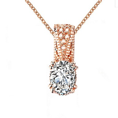 Women's Opal Rhinestone Zircon Pendant Necklace - Geometric Oval Necklace For Wedding Daily