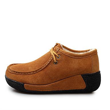 Bout Fuchsia rond Lacet Bleu Confort Hiver Café Chaussures Daim fluff Doublure 06314385 Automne Oxfords Femme qz8PSwv