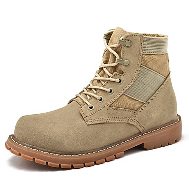 Men's Combat Boots Faux Leather Spring / Fall Comfort Boots Beige / Yellow