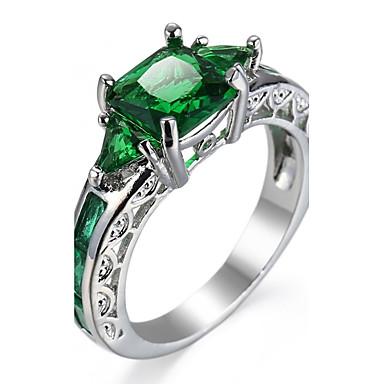 voordelige Heren Ring-Dames Kubieke Zirkonia meetkundig patiencespel Emerald Cut Knokkelring Verlovingsring Zirkonia Luxe Klassiek Modieus Elegant Modieuze ringen Sieraden Rose Roze / Groen / Blauw Voor Bruiloft Feest