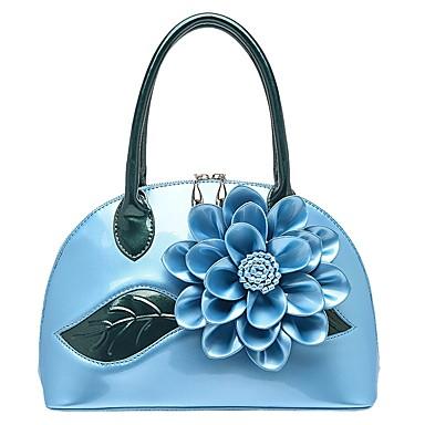 billige Vesker-Dame Blomst PU Veske med topphåndtak Blomstermønster Svart / Hvit / Himmelblå