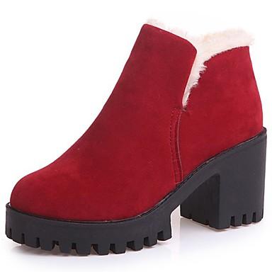 Női Cipő PU Ősz / Tél Kényelmes Csizmák Kerek orrú Bokacsizmák Fekete / Burgundi vörös / blokk Heel