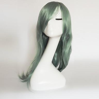 Damskie Peruki syntetyczne Medium Długo Naturalne fale Blonde Fioletowy Niebieski Zielony Czarny Z grzywką Peruka naturalna Peruka