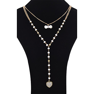 Damen Imitierte Perlen, Strass Layered Ketten - Künstliche Perle Schleifenform Gold