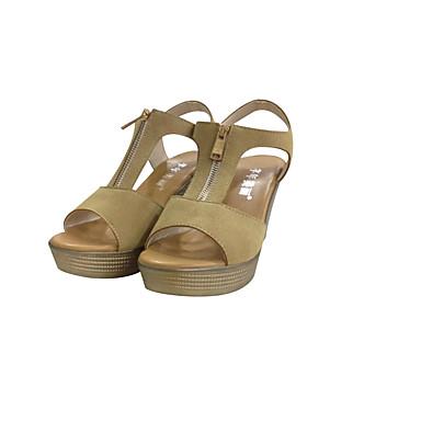 povoljno Ženske sandale-Žene Sandale Poluga pete Wedge Heel Peep Toe Brušena koža Udobne cipele Ljeto Fuksija / Kava / Crvena / EU40