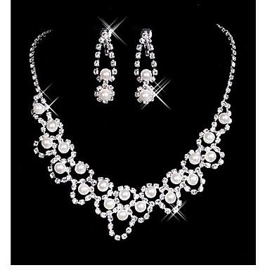 Damskie Biżuteria Ustaw Kolczyki wiszące, Naszyjnik - Imitacja pereł White