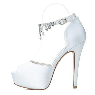 Women's Satin Spring / Summer Stiletto Heel Rhinestone Purple Silver / Blue / Purple Rhinestone / Wedding / Party & Evening 6b4c73