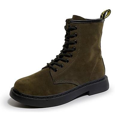 Damen Schuhe PU Frühling Herbst Komfort Springerstiefel Stiefel für Normal Schwarz Armeegrün
