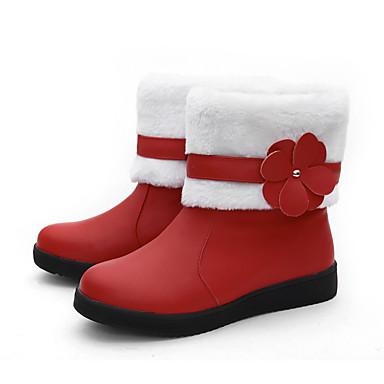 Femme Rouge Rose Chaussures Bout Similicuir Mi Noir Bottes 06384451 Bottine Bottes Bottes neige Demi mollet Hiver de rond Botte Appliques rrTpqU