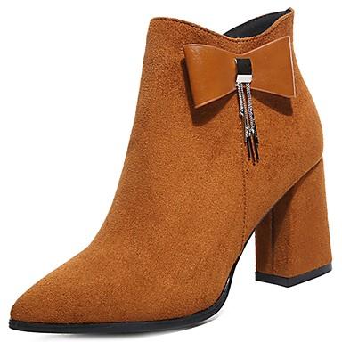 Damen Schuhe Vlies Winter Modische Stiefel Stiefel Spitze Zehe Reißverschluss Schwarz / Gelb