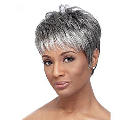 お買い得  人毛キャップレスウイッグ-人間の毛のキャップレスウィッグ 人毛 ナチュラルウェーブ ダークルート ハイライト/ バレイヤージュヘア ショート 機械製 かつら 女性用
