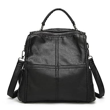 Damen Taschen PU Rucksack Reißverschluss Schwarz