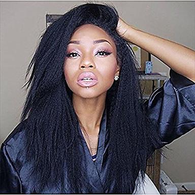 Włosy naturalne Peruka Włosy brazylijskie Kinky Straight Z baby hair 130% Gęstość 100% Dziewica Naturalna linia włosów Krótki Medium Długo