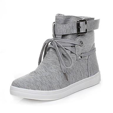 Damen Schuhe Stoff Winter Schneestiefel Stiefel Runde Zehe Mittelhohe Stiefel Schnürsenkel Für Normal Schwarz Grau