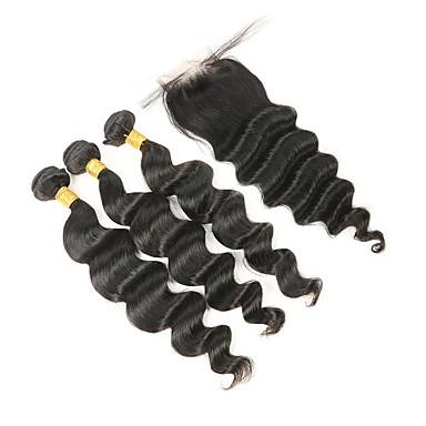4 zestawy Włosy indyjskie Luźne fale Włosy remy Człowieka splotów włosów Ludzkie włosy wyplata Ludzkich włosów rozszerzeniach