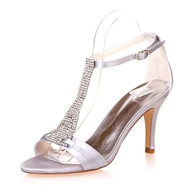 Satin Talon Bout Basique Bleu Champagne Chaussures Ivoire 06404745 Aiguille Eté Escarpin Femme Printemps Mariage Sandales Strass ouvert 54Spnq40w
