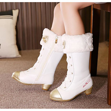 Mädchen Schuhe Künstliche Mikrofaser Polyurethan Winter Herbst Schneestiefel Komfort Stiefel für Normal Weiß Schwarz Rosa