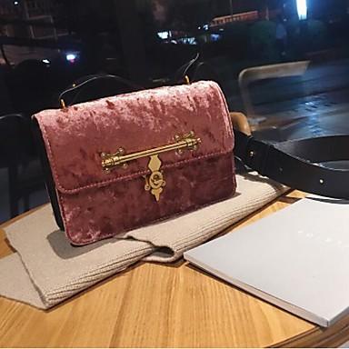 Damen Taschen Samt Schultertasche Reißverschluss für Normal Ganzjährig Schwarz Silber Rosa Dunkelgrün