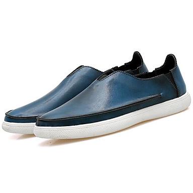 Herren Schuhe Leder Frühling Herbst Komfort Loafers & Slip-Ons Für Normal Schwarz Silber Braun Blau
