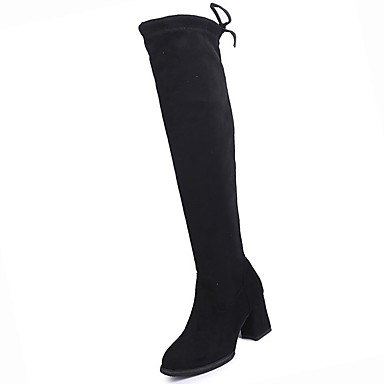 povoljno Ženske čizme-Žene Čizme Kockasta potpetica Okrugli Toe PU Bedro visoke čizme Udobne cipele / Modne čizme Zima Crn / EU39