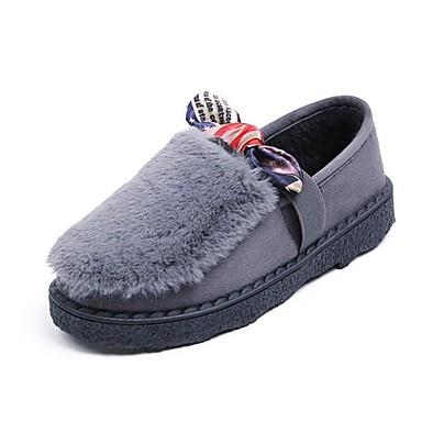 Damen Schuhe Kaschmir Winter Komfort Loafers & Slip-Ons Runde Zehe Schleife Für Normal Schwarz Grau Grün