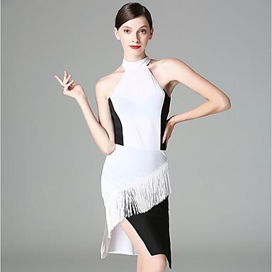 Taniec latynoamerykański Suknie Damskie Wydajność Lodowy jedwab Frędzel Bez rękawów Ubierać