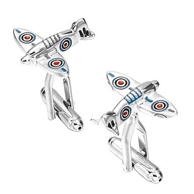 Silver Manžetové knoflíčky Miedź Samolot Artystyczny Męskie Biżuteria kostiumowa Na Zaręczynowy