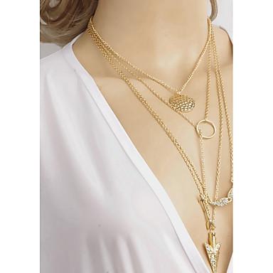Damen Layered Ketten - Strass Einfach Gold Modische Halsketten Für Alltag, Ausgehen