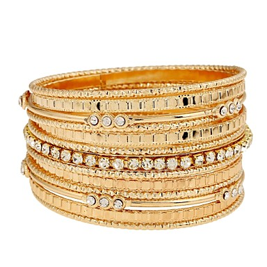 baratos Bangle-Mulheres Bracelete Enrole Pulseiras Importante senhoras Clássico Fashion Dubai Imitações de Diamante Pulseira de jóias Dourado Para Diário Baile de Formatura Promessa