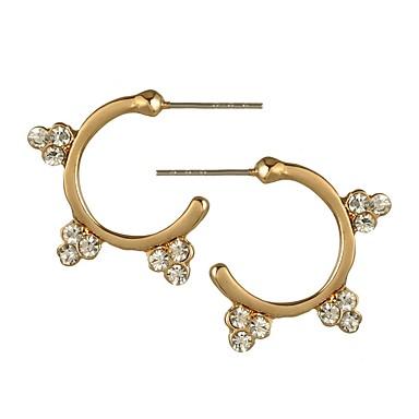 Damskie Kolczyki na sztyft Kolczyki koła Rhinestone Prosty Vintage Modny Koreański Europejski Stop Circle Shape Biżuteria Gold Silver